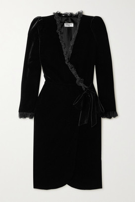 Saint Laurent Lace-trimmed Velvet Wrap Dress - Black