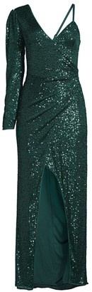 BCBGMAXAZRIA One-Sleeve Ruched Sequin Dress