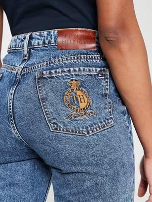 Tommy Hilfiger Frayed Hem Straight Leg Jean - Denim
