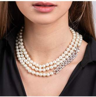 Kenneth Jay Lane Long Pearl Necklace With Silver Crystal Clasp