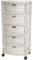 Oriental Furniture Extra Tall Design End Table Nightstand, 37-Inch Natural Fiber Rattan Look Storage Chest