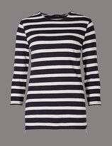 Marks and Spencer Striped Round Neck 3/4 Sleeve T-Shirt