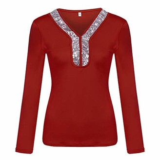 TWIFER Fashion Womens Casual Sequins Long Sleeve V-Neck T-Shirt Solid Blouse Loose Tops Pullover Tunic(White UK-12/CN-L)