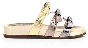 Alexandre Birman Women's Lolita Bow Metallic Snakeskin-Embossed Leather Slides Sandals
