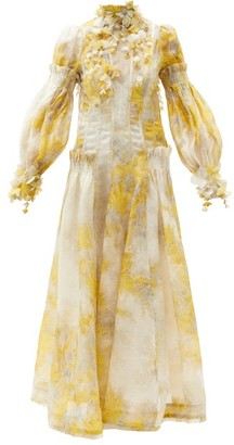 Zimmermann Botanica Wattle-print Linen-blend Organza Dress - Yellow Print