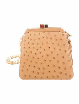 Judith Leiber Stone Embellished Ostrich Mini Bag Gold