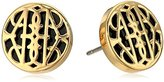 Vera Bradley Signature Icon Gold Tone Stud Earrings