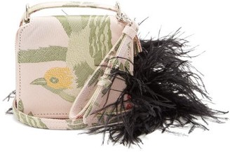 Marques Almeida Marques'almeida - Feather Strap Bird Jacquard Cross Body Bag - Womens - Pink Multi