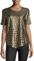 Equipment Riley Floral-Print Silk Tee, Black/Gold