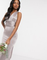 TFNC Bridesmaid multi way maxi dress in gray