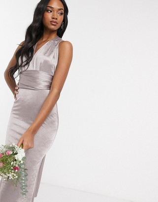 TFNC Bridesmaid multi way maxi dress in gray