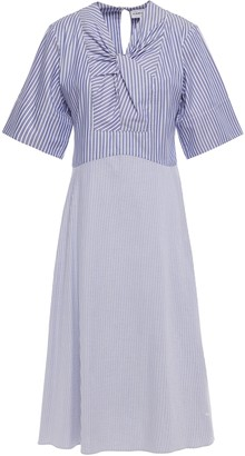 Carven Twist-front Striped Cotton-poplin Dress