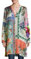 Johnny Was Biorla Long-Sleeve Button-Front Floral Tunic, Multi, Plus Size
