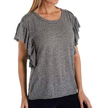 Splendid Women's Ruffle Sleeve Crewneck Tee T-Shirt