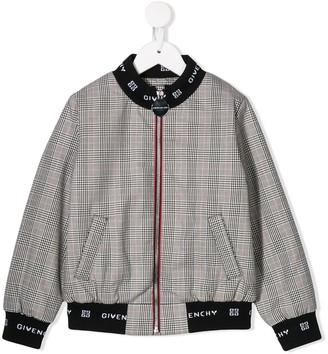 Givenchy Kids 4G logo plaid bomber jacket
