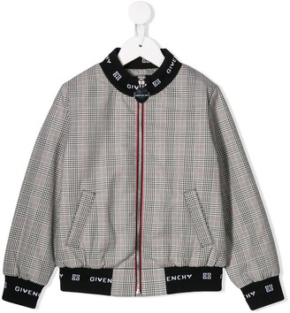 Givenchy Kids 4G logo plaid bomber jacket