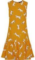 Markus Lupfer Ruffled Printed Cotton-Poplin Mini Dress