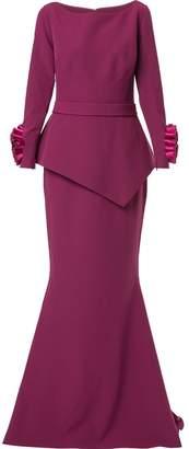Safiyaa London long sleeve floral cuff gown