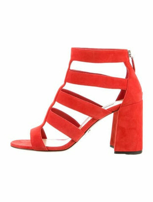 Prada Suede Gladiator Sandals Red
