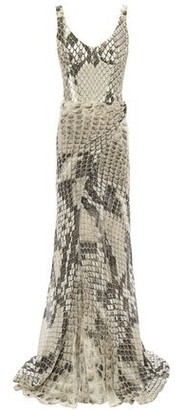 Roberto Cavalli Wrap-effect Silk Chiffon-layered Snake-print Stretch-crepe Gown