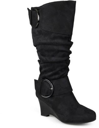 Brinley Co. Womens Extra Wide-Calf Slouch Buckle Wedge Knee-High Boot