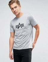 Alpha Industries T-Shirt With Logo In Regular Fit Gray Heather
