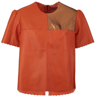 Manley Boxter Leather T-Shirt - Orange & Bronze