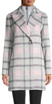 Cinzia Rocca Soft Plaid Coat Removable Bib