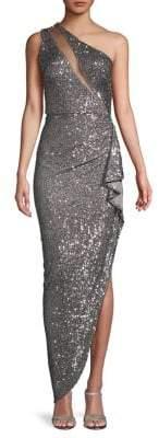 Nicole Bakti One-Shoulder Cascading Ruffle Sequin Gown