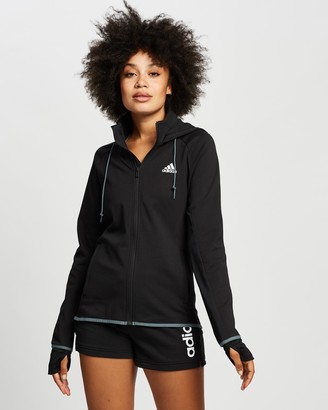 adidas Women's Black Jackets - Designed to Move AEROREADY Full-Zip Hoodie - Size XS at The Iconic