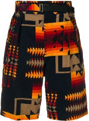 Sacai Aztec pattern corduroy shorts