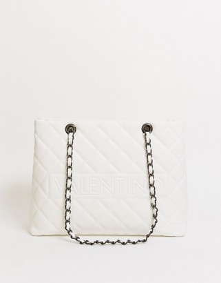 Valentino by Mario Valentino Licia quilted tote bag with chain handle detail in white