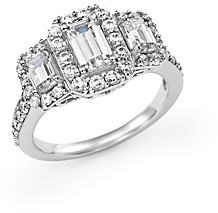 Bloomingdale's Emerald-Cut Diamond Three Stone Engagement Ring in 14K White Gold, 2.0 ct. t.w. - 100% Exclusive