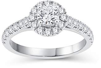 Perfect Love Diamond Collection Women's 18 ct White Gold Round Diamond Halo Ring with Diamond Shoulders, Certified Ideal Cut 1 ct