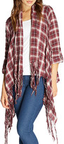 Bobeau Plaid Third Piece Fringed Open-Front Cardigan, Burgundy