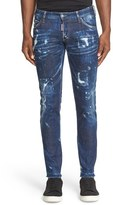 DSQUARED2 Men's 'Clement American Pie' Distressed Fray Hem Skinny Jeans
