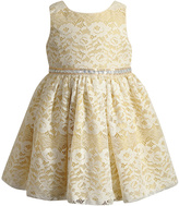 Youngland Cream & Gold Floral Lace Sleeveless Dress - Toddler