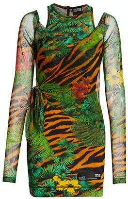 Versace Tropical Print Shoulder Cutout Bodycon Dress