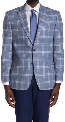 Tommy Hilfiger Blue/Grey Plaid Two Button Notch Lapel Sport Coat