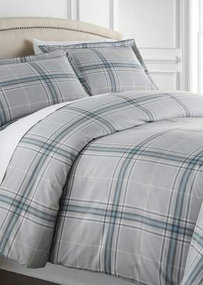 SOUTHSHORE FINE LINENS Full/Queen Sized Luxury Premium Oversized Comforter Sets - Plaid Grey