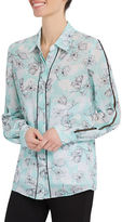 Ellen Tracy Petite Lattice Inset Pajama Shirt