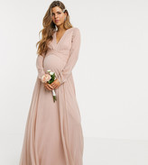 Asos DESIGN Maternity Bridesmaid ruched waist maxi dress with long sleeves and pleat skirt