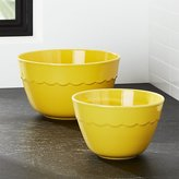 Crate & Barrel Set of 2 Yellow Scalloped Mixing Bowls