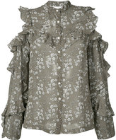 Robert Rodriguez floral open shoulder ruffle shirt - women - Silk - 0