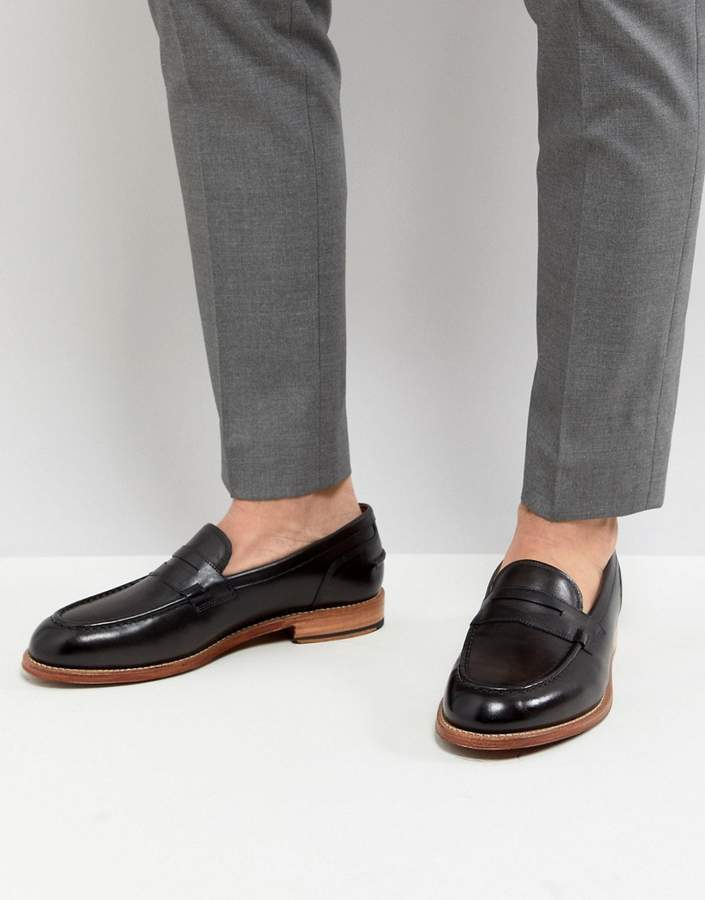 Grenson Maxwell Penny Loafers In Dark Gray