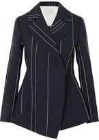Cédric Charlier Striped Linen And Cotton-blend Blazer - Navy