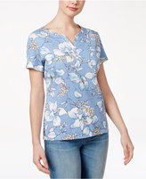 Karen Scott Petite Floral-Print Henley Top, Only at Macy's