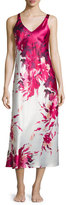 Oscar de la Renta Floral-Printed Charmeuse Long Gown, Fuchsia Print