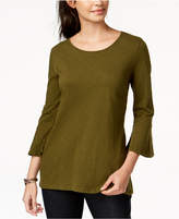 Style&Co. Style & Co Cotton Bell-Sleeve Peplum Back Top, Created for Macy's