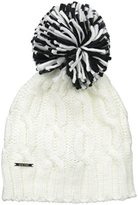 Nine West Women's Handknit Cable Cuff Beanie with Pom